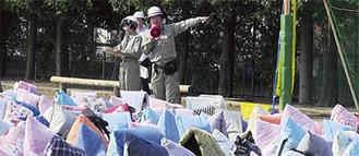 昨年、北綱島小で行われた総合防災訓練の様子