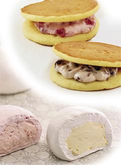 老舗の人気スイーツ(日吉店限定) 「優」は苺チーズクリームと小倉クリームの2種、「ふわゆき」はストロベリーとレアチーズの2種