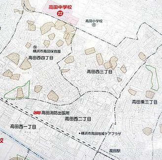 作成された土砂災害ハザードマップの一部