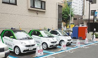 新横浜に設置された電気自動車