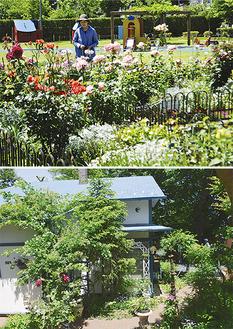 草花で彩られるグリーンサラウンドシティ(上)と日吉山荘