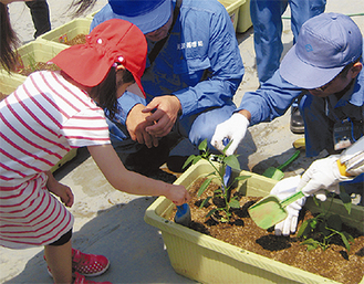 職員と一緒に苗を植える女児