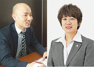 澤口さん(左)と田代さんなどが相談に対応