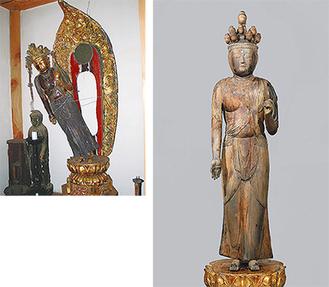 震災後、修復前の仏像(左)と、本来の姿を取り戻した仏像(右)