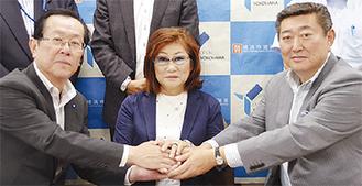 左から中島泰雄道路局長、金子眞紀子氏、山谷朋彦氏