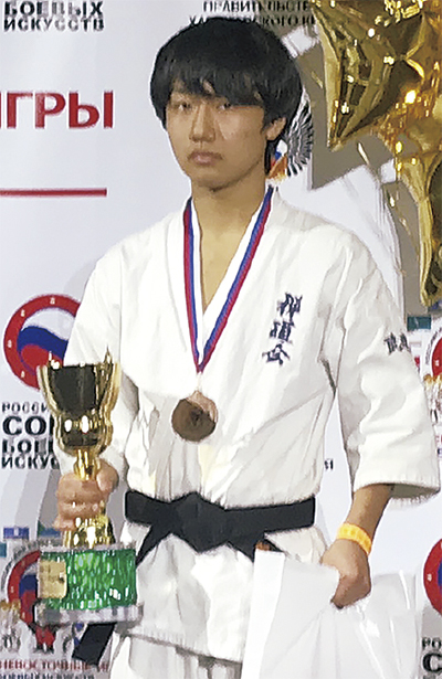 中学生の部で3位に入賞した田口恵大さん(写真提供=禅道会)