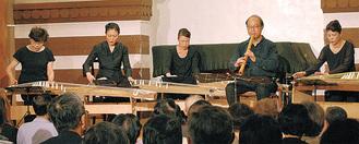 琴、十七弦、尺八の合奏などが披露された