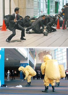 横浜国際総合競技場での訓練(上)と、横浜アリーナでの訓練の一幕