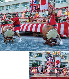 ムードを盛り上げようと会場に掲げられた日本と英国の国旗。上写真は「どんBRI」の太鼓演奏。下写真は、東京五輪音頭を踊る慶大学生ら。