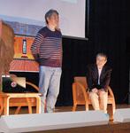 小机城の歴史について語る二宮氏(左)と小和田氏