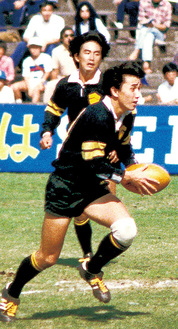 青山学院大学ラグビー部時代。ポジションは14番ウィングだった
