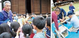 長さ4〜5mの藁の大蛇を作る(右)/学校で作成するミニ藁蛇を手にする児童ら