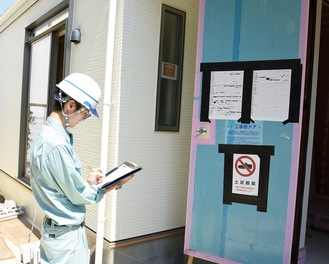 美化担当社員が現場でルールが順守されているか確認し、清掃も行う