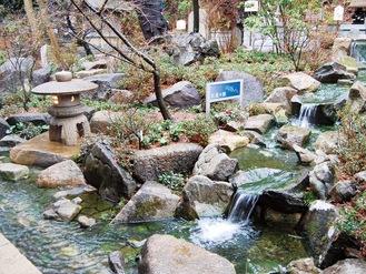 臥龍の瀬を流れる水音が心地よく響く令和神苑
