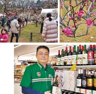 昨年の観梅会の様子(上)と梅酒を持つ鈴木店長(下)