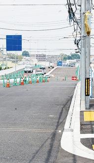 ▶本線工事が完了した新吉田高田地区(6月3日、下図【2】地点より撮影)