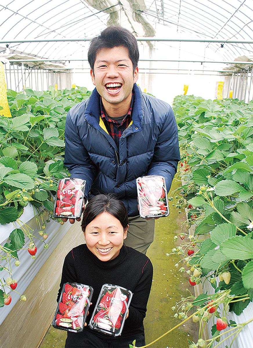 新羽町のハウスで、直売のイチゴを手にする長澤夫妻