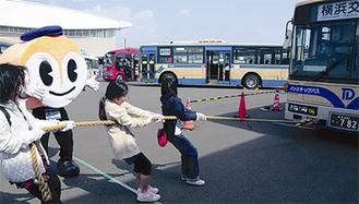 バスとの綱引き体験も