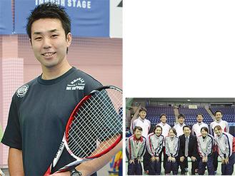 同校支配人の寺西宏晃さん(左)と実業団チーム(右)