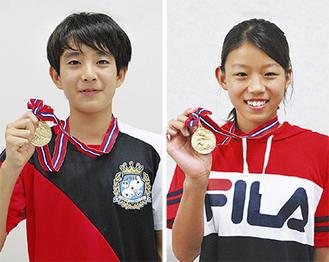 金メダルを手に持つ濱田さん(左)と澤野さん