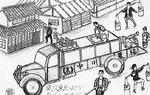 肥料集めの四輪トラック