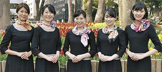 横浜スカーフ大使に決まった5人(左が高野さん)