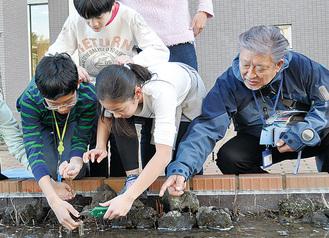 作業をする児童と田中教授