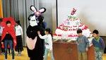 記念キャラ「スマ・ラビ」と牛乳パックで作ったケーキ