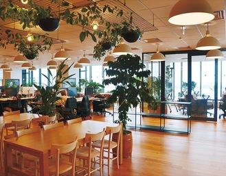 「WeWorkオーシャンゲートみなとみらい」内にあるオフィス。食にまつわる植物が各所に配置された開放的な空間
