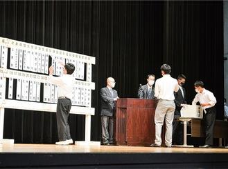 県立青少年センターで行われた組み合わせ抽選会