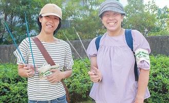 「ゴミ拾いでなく幸せ拾い」と話す團野さん(左)と持田さん