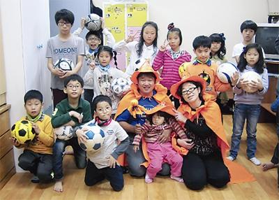 サッカーボール韓国へ