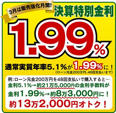 決算特別低金利なんと1.99%