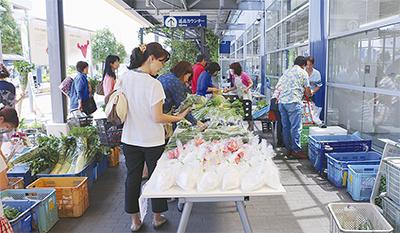新鮮な都筑野菜並ぶ