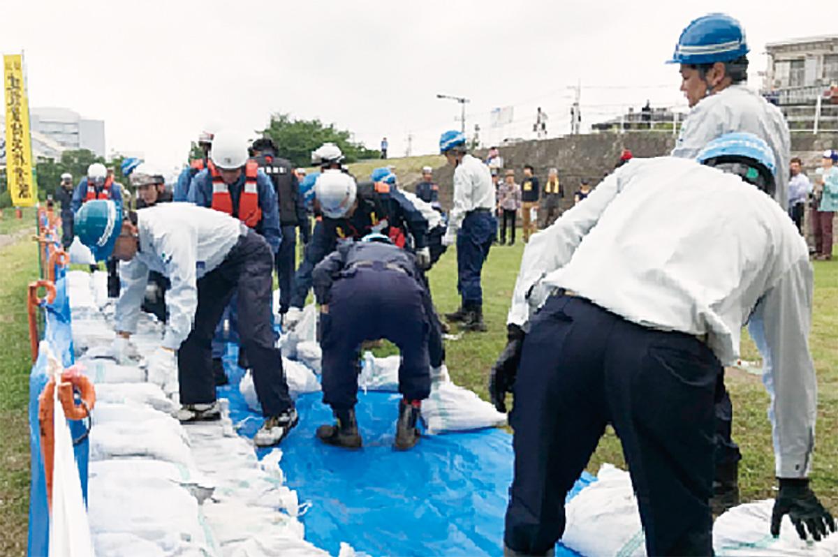 鶴見川で水防訓練実施