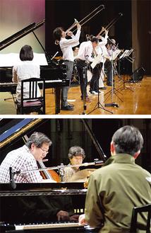 """今年初めて本番出場を決めた「トロンボーンボラチョス」(上)と「Higu""""P""""Trio」"""