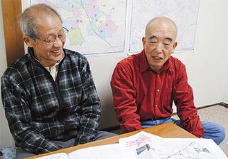 「運行が待ち遠しい」と内田会長(左)と若松さん(2月14日、今川町内会館)