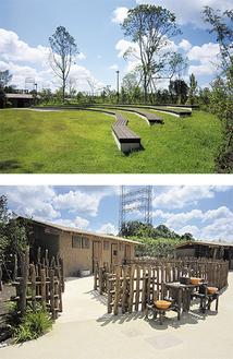 先行公開されるバードショー広場(上)とアフリカンヴィレッジ
