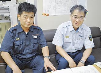 注意を呼びかける高坂署長右と河原予防課長