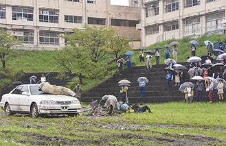 事故のスタントを真剣に見つめる学生たち