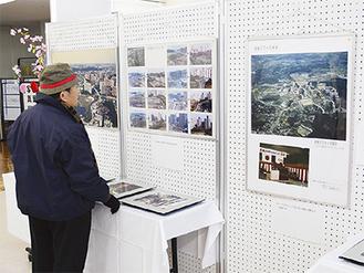 大小さまざまな写真を展示