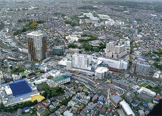 二俣川駅上空から見た同施設と周辺エリア(泉区在住・中丸定昭さん提供写真・4月16日撮影)