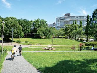 広場や公園など緑が多い環境の左近山団地
