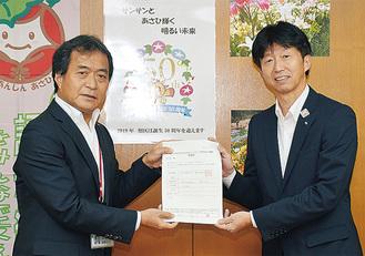 下田区長(右)と佐藤局長