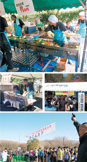 地域のイベントに積極的に参加している北沢建設の社員ら。ズ-ラシア駅伝では北澤社長がスターターを務めている