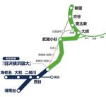 「相鉄・JR直通線」(緑色)の路線図(相鉄提供)