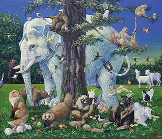 展示作品「群獣図」