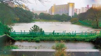 台風19号が上陸した際の若葉台遊水池(12日撮影、旭土木事務所提供)