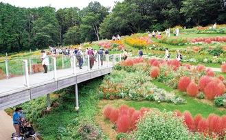 昨年秋に公開された里山ガーデン内の大花壇
