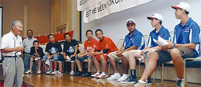 米野球少年と交流